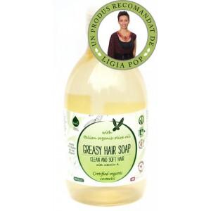 Șampon ecologic cu ulei de măsline pentru păr gras 300ml